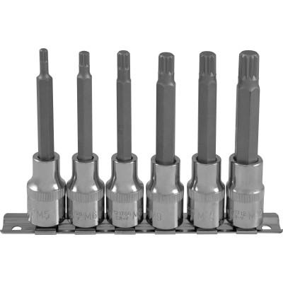"""Набор насадок торцевых 1/2"""" с вставками-битами SPLINE на держателе M5-M12 100 мм 6 предметов"""